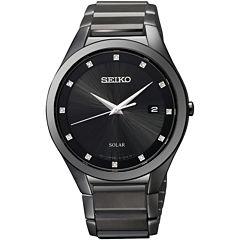 Seiko® Mens Black Diamond-Accent Watch SNE243