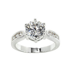 city x city® Pure Silver-Plated Cubic Zirconia Solitaire Ring