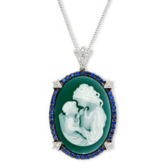 Green Agate & Lab-Created Sapphire Oval Family Cameo Pendant