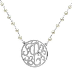 Personalized Lacy Sterling Silver 32mm Initial Medallion Necklace