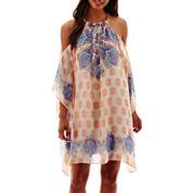 Bisou Bisou® Short-Sleeve Hardware Cold-Shoulder Dress