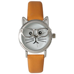 Olivia Pratt Womens Silver-Tone Ears And Glasses White Cat Face Print Dial Orange Faux Leather Strap Watch 15097