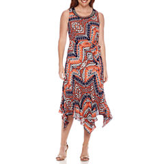 Robbie Bee® Sleeveless Embellished Neck Belted Handkerchief-Hem Dress - Petite