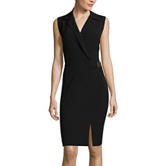 Liz Claiborne® Sleeveless Notch Collar Sheath Dress