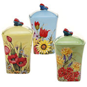 Certified International Floral Bouquet 3-pc. Canister Set