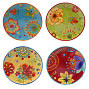 Certified International Tunisian Sunset Set Of 4 Salad Plates