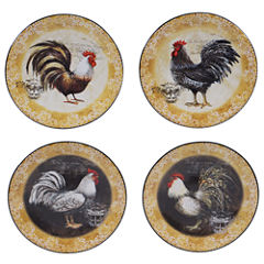 Certified International Vintage Rooster Set Of 4 Canape Plates