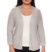 Worthington® 3/4-Sleeve Open Cardigan - Plus