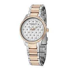 Stührling® Original Womens Crystal-Accent Two-Tone Stainless Steel Watch