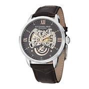 Stührling® Original Mens Gray Dial Skeleton Automatic Watch