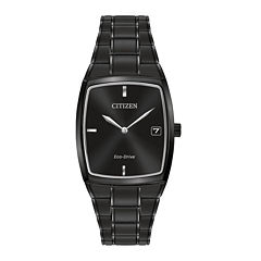 Citizen® Eco-Drive® Mens Rectangular Black Stainless Steel Watch AU1077-59H