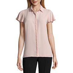 Worthington Short Sleeve Button Front Blouse