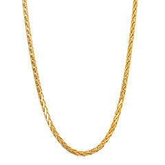 14K Yellow Gold Diamond-Cut Wheat Chain 22