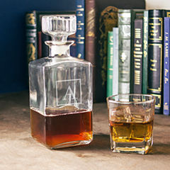 Cathy's Concepts Monogrammed Glass Square Whiskey Decanter