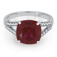 Womens Red Ruby Sterling Silver Cocktail Ring