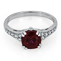 Womens Lab Created Red Ruby Sterling Silver Cocktail Ring