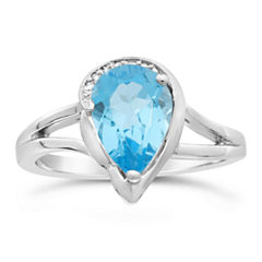Womens Diamond Accent Genuine Blue Blue Topaz Sterling Silver Cocktail Ring