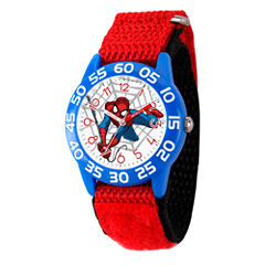Marvel Boys Red And White Ultimate Spiderman Time Teacher Plastic Strap Watch W003232