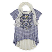 Knit Works® Cap-Sleeve Top with Scarf and Necklace - Girls 7-16 and Plus
