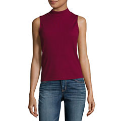 City Streets Ribbed Mock Neck Top