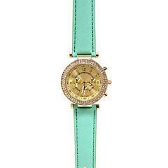 Womens Hinged Faux Leather Strap Fashion Watch
