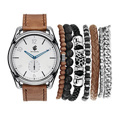 Rocawear Men's Brown And White Stackable Bracelet Strap Watch Set Rmst5216S328-510