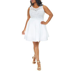 Fashion To Figure Allie Mesh Bodice Fit And Flare Dress-Plus