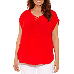 Liz Claiborne Short Sleeve Split Crew Neck Woven Blouse-Plus