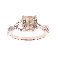 Blooming Bridal Genuine Cushion-Cut Morganite and Diamond-Accent 14K Rose Gold Ring
