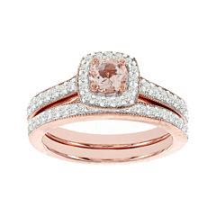 Blooming Bridal Genuine Morganite and Diamond 14K Rose Gold Bridal Ring Set