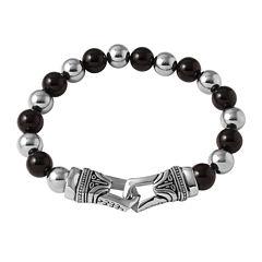 Mens Black Agate and Stainless Steel Bead Bracelet