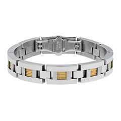 Mens Stainless Steel and Gold Ion Rope Inset Bracelet