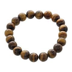 Dee Berkley Mens Genuine Tiger's Eye Bead Stretch Bracelet