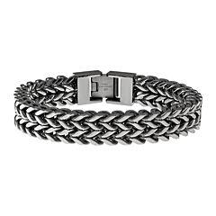 Mens Antique Finish Stainless Steel Wheat Bracelet