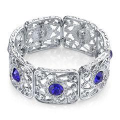 1928® Jewelry Blue Stone Silver-Tone Filigree Stretch Bracelet