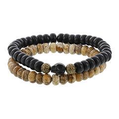 Dee Berkley Mens Genuine Black Agate, Jasper and Dyed Magnesite Stretch Bracelets