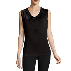 Worthington Sleeveless Draped Neck T-Shirt-Womens