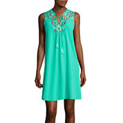 My Michelle® Sleeveless Embroidered Lace-Up A-Line Dress
