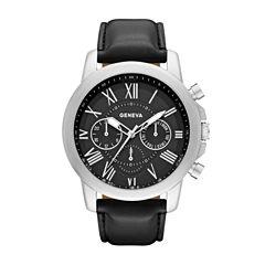 Geneva Mens Black Strap Watch-Fmdjm571