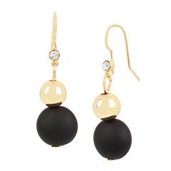 Bleu™ Black and Gold Double Drop Earrings