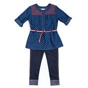 Little Lass® 2-pc. Denim Heart Set - Toddler Girls 2t-4t