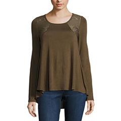 Buffalo Jeans 3/4 Sleeve Scoop Neck T-Shirt-Womens