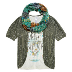 Beautees Elbow-Sleeve Cozy with Screen Print Tank Top and Scarf - Girls 7-16