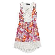 Trixxi® Sleeveless Patchwork Lace-Trim High-Low-Hem Dress - Girls 7-16