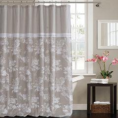 Kensie Clara Polycotton Shower Curtain With ThreeLines Lace Border