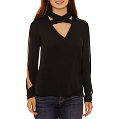 Bold Elements Cross Neck Long Sleeve Top