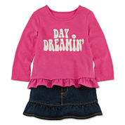 Arizona Long-Sleeve Graphic Top or First Denim Skort - Baby Girls 3m-24m