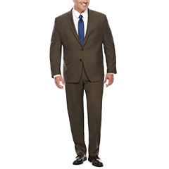 Collection by Michael Strahan Brown Sharkskin Suit- Big and Tall