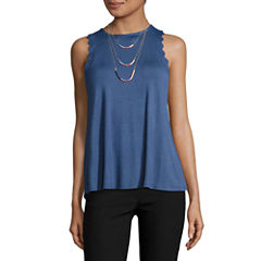 Self Esteem Sleeveless Crew Neck Jersey Blouse-Juniors