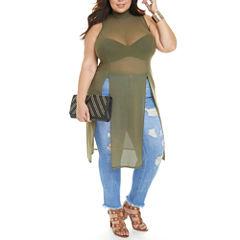 Fashion To Figure Bree Mockneck Mesh Tunic-Plus